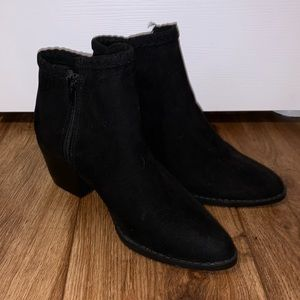 Black faux suede forever 21 booties